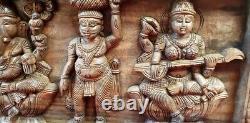 Dieu Hindou Ganesh Lakshmi Saraswathy Vintage Wooden Temple Wall Panel Statue Rare
