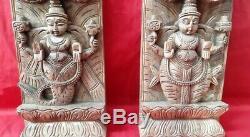 Dieu Hindou Vishnou Temple Dashavatar Vintage Vertical Panneau Mural En Bois Rare Décor