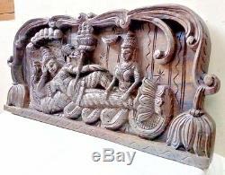 Dieu Hindou Vishnou Tenture Panneau Vintage Statue En Bois Sculpture Main Rar