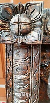 Dieux Hindous Art Vintage Handcrafted Panneau Mural Panneau Sculpture Statue En Bois