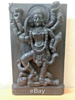 Durga Kali Devi Temple Vintage Mur Sculpture En Bois Statue Panneau Art Déco