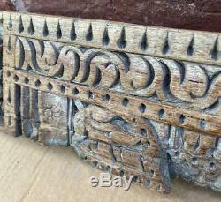 En Bois Sculpté Panneau Architectural Indien Ganesh Antique / Vintage / Original