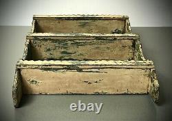 Étagères En Bois Indien Vintage. Antiquité, Art Déco. Sarcelle En Détresse Et Vanille