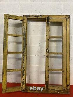 Fenêtre En Bois Indienne Antique De Panneau De Verre D'cru Avec Le Cadre