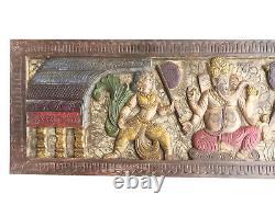 Ganesh Wall Art Bois Chevet Vintage Régénérés Sculpté À La Main Ganesha Art 72x18