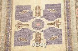 Géométrique Pourpre Vintage Oushak Zone Orientale Turque Tapis Distressed Laine 2'x3