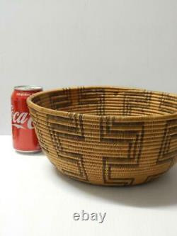 Giant Antique C1890s Era Vintage Western Apache Indian Basket Tray Bowl- Xlnt