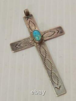 Grand Antique Vintage Navajo Croix Indienne Estampée Main Turquoise Sterling Argent