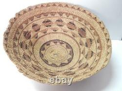 Grand Détail Antique Vintage Yurok / Hupa Indian Basket Bowl Nw Californie