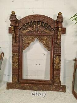 Grand Or Vintage Main Fait Authentique Indien Sculpté Jharokha Mur Miroir Frame