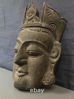 Grand Vieux Masque Indien Sculpté À La Main De Bouddha Sacré. Prince Siddhartha Gautama