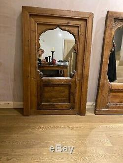 Grand Vintage Antique Reclaimed Indien Fenêtre Cadre Miroir Rajasthan