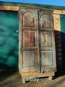 Grand Vintage Indien Dowry Cabinet Armoire Larder Cuisine Armoire De Rangement