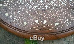 Grand Vintage Octogonal Anglo / Indien Pliant Marqueterie Table D'appoint En Bois