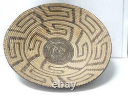 Grande Antiquité C1900-20s Vintage Pima Indian Basket Tray Wine Bowl Maze Dsgn