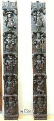 Hindu Dashavatara Mur Panneau Vertical Paire Vintage Dieu Vishnu Panneau Avatar Décor
