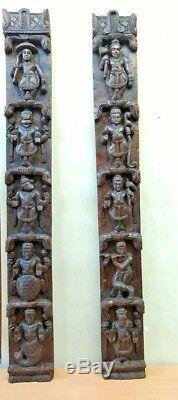Hindu Dashavatara Mur Vertical Panneau Paire Vintage Dieu Vishnu Ten Avatar Diwali