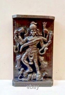 Hindu God Shiva Killing Demon Vintage Temple Wall Panel Natraj Siva Statue Rare