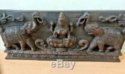 Hindu Goddes Lekshmi Panneau Mural En Bois Vintage Laxmi W Elephant Sculpture Statue