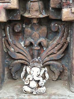 Hindu Vintage Sacré Indien Accueil Temple Autel Sanctuaire En Bois Suspendu Arquéesles Puja