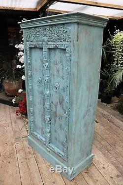 Hou La La! Old Vintage Painted Bleu / Sculpté Armoire Indienne / Ebenisterie Que Nous Fournissons