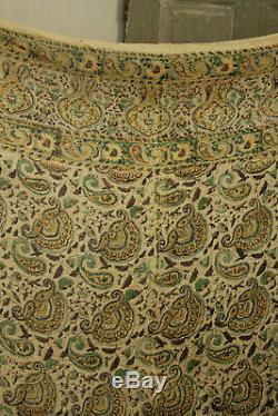 Imprimé Vintage 1940 Bloc Persan Kalamkari Paisley Tissu Tenture Indien