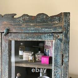 Indian Glazed Glass Front Painted Armoire Armoire Vintage Antique