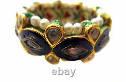 Indian Mughal Diamond Gold Pearl Émail Antique/bague Vintage