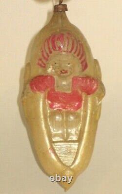 Indien Figural Antique Allemand De Verre Dans Un Ornement De Noël De Cru De Canoë Des Années 30