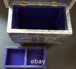 Indien Raj Argent Et Bois Vintage Art Déco Antique Éléphant Boîte À Bijoux Cercueil