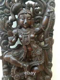 Kaliya Krishna Sculpture Dieu Hindou Statue Krsna Vintage Panneau Mural En Bois Décor