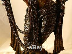 Krishna Brass Sculpture Statue Vintage Grand Massif Flûte Hindu Spiritual 10,4 KG