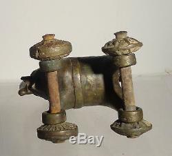 Laiton Antique Vintage Bronze Elephant Toy Pull Empire Britannique Inde