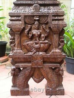 Lakshmi Statue Kavadi Temple Hindou Gopuram Sculpture En Bois Panneau Mural Vintage