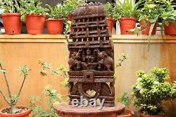 Lakshmi Statue Panneau De Mur En Bois Temple Kavadi Sculpture Vintage Décoration Maison Rare