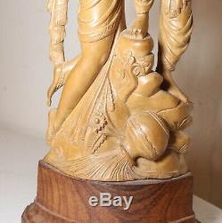 Main Vintage Sculpté Amoureux Du Bois De Santal Inde Rada Krishna Sculpture Statue