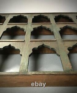 Meubles Indiens Antiques D'époque. Grande Unité D'affichage/étagères. Vert Kaki