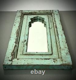 Miroir Indien Vintage Antique, Arc Moghol, Teck. Eau De Nil. Début 20ème C