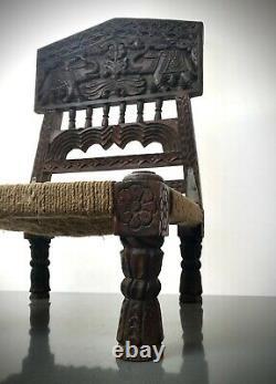 Mobilier Ancien En Bois Indien. Chaise Basse Traditionnelle Tribal Pidha