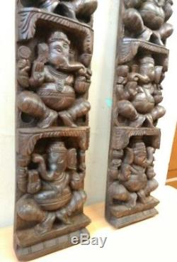 Mur Ganesha Hindou Panneau Vertical Vintage Sculpture Ganesh En Bois Diwali Cadeau