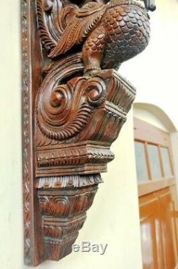 Mur Peacock Support Corbel Paire Vintage Sculpture En Bois Statue Oiseau Art Décor