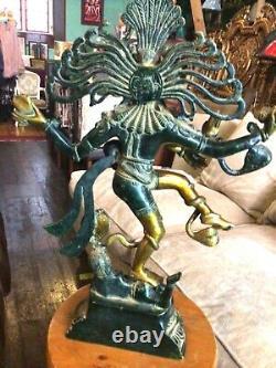 Natraj Laiton Sculpture Shiva Statue Vintage Grand Solide Hindou Spirituel 52cm 8kg