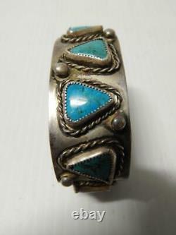 Nice Old Antique Vintage Bracelet Navajo Indien Sterling Silver Turquoise