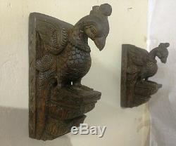 Oiseau Paon Vintage Corbel Paire En Bois Support Ornement Sculpture Murale Hanging