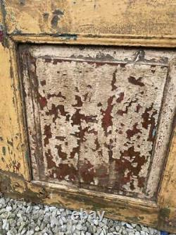 Paire D'original Antique Vintage Rustique Indien Jali Doors Wood & Metal Grills