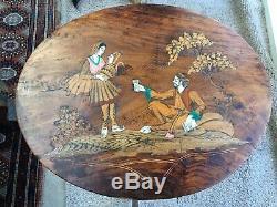 Paire De Antique Vintage Marqueté Indiens Tables Ovale Side