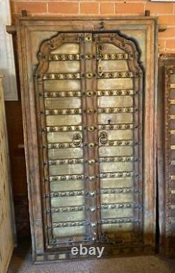Paire De Original Antique Vintage Rustique Indien Jali Doors Wood & Laiton Poli