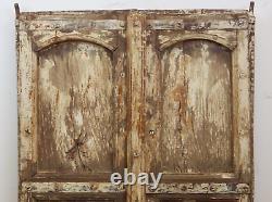 Paire De Portes Antiques De Volets En Bois Usés Indiens De Peinture D'antiquité (mill-563)