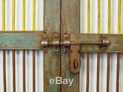 Paire De Vintage Rustic Indian Jali Fenêtres Cabinet Garden Gate Portes (ref522)