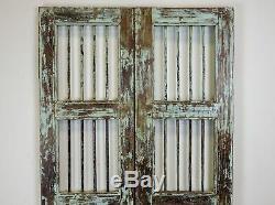 Paire De Vintage Rustique Indiens De Bois Franc Jali Garden Gate Portes (ref507)